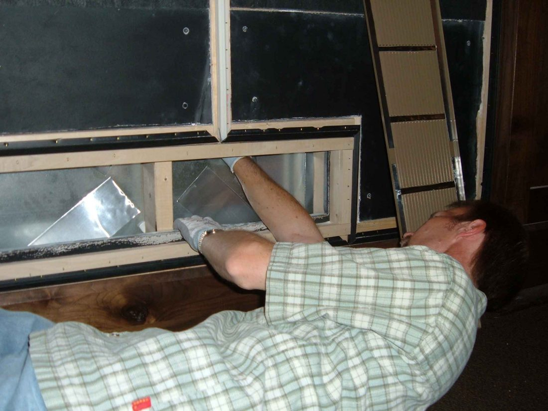 Applying constrained damping material to rumbley HVAC duct